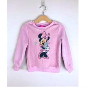 Minnie Mouse Fuzzy Sweater Sweatshirt Pink 3T